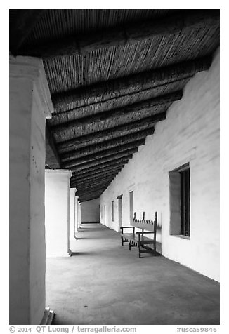 Gallery, El Presidio de Santa Barbara. Santa Barbara, California, USA (black and white)