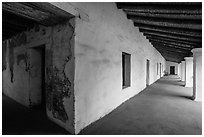 Galleries, El Presidio de Santa Barbara. Santa Barbara, California, USA ( black and white)