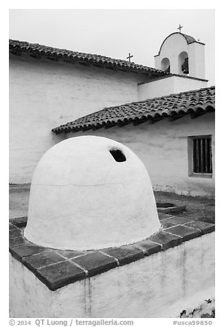 Oven and church, El Presidio. Santa Barbara, California, USA (black and white)