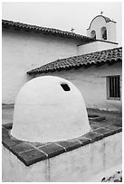 Oven and church, El Presidio. Santa Barbara, California, USA ( black and white)