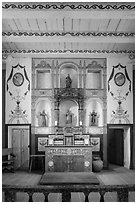 Chapel interior, El Presidio. Santa Barbara, California, USA ( black and white)