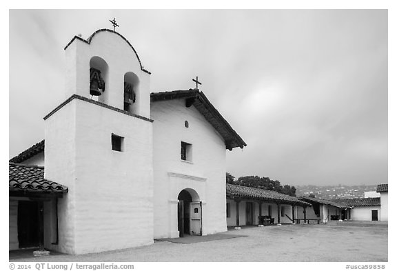Chapel and Presidio. Santa Barbara, California, USA (black and white)