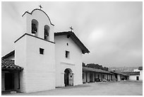 Chapel and Presidio. Santa Barbara, California, USA ( black and white)