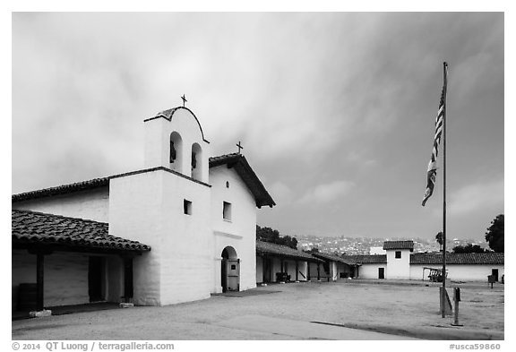 El Presidio de Santa Barbara. Santa Barbara, California, USA (black and white)