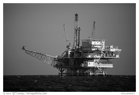 Offshore oil rig. California, USA (black and white)