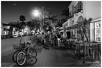 State Street at night. Santa Barbara, California, USA ( black and white)