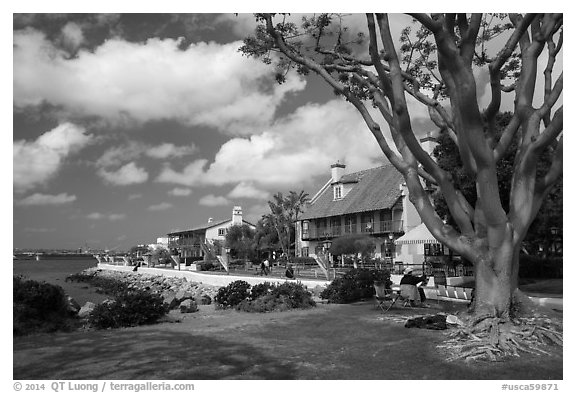 Seaport Village. San Diego, California, USA (black and white)