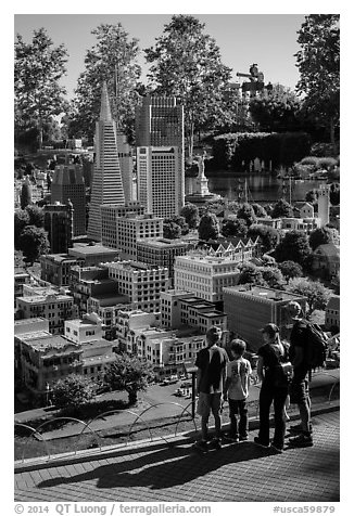 Familly looks at San Francisco built from legos, Legoland, Carlsbad. California, USA (black and white)
