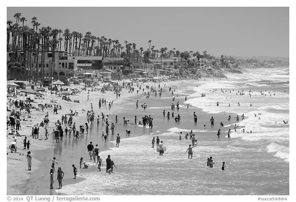 Crowded beach in summer, Oceanside. California, USA (black and white)