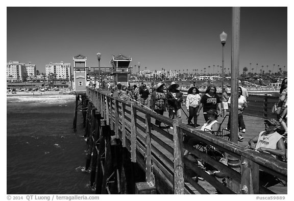 Looking from pier, Oceanside. California, USA (black and white)