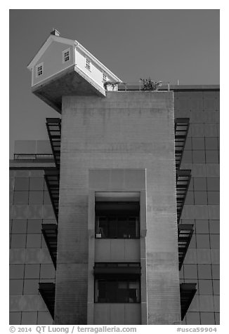 House sitting atop Warren College engineering building, UCSD. La Jolla, San Diego, California, USA (black and white)