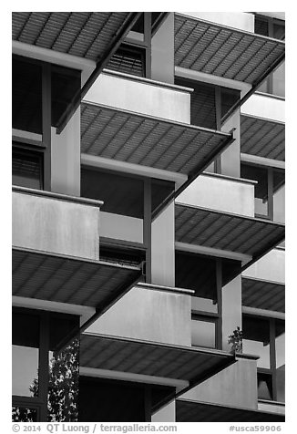 Architectural detail, University of California at San Diego. La Jolla, San Diego, California, USA (black and white)