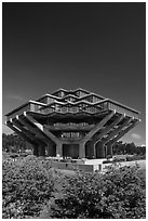 Geisel Library designed by William Pereira, University of California. La Jolla, San Diego, California, USA ( black and white)