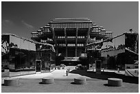 Entrance of Geisel Library, University of California. La Jolla, San Diego, California, USA ( black and white)