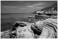 Sculptured coastline, Cabrillo National Monument. San Diego, California, USA ( black and white)