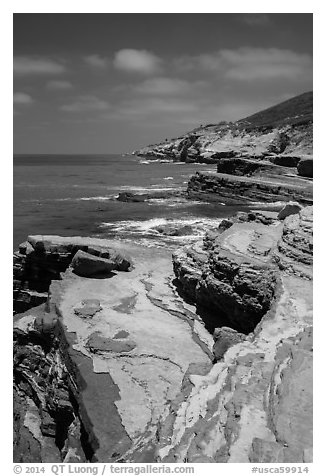 Coastline, Cabrillo National Monument. San Diego, California, USA (black and white)