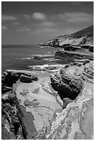 Coastline, Cabrillo National Monument. San Diego, California, USA ( black and white)