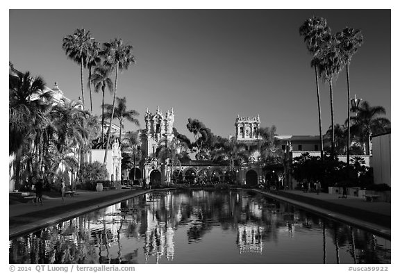 Casa de Balboa and House of Hospitality reflected in lily pond. San Diego, California, USA (black and white)
