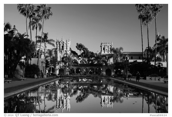 House of Hospitality and Casa de Balboa at sunset. San Diego, California, USA (black and white)