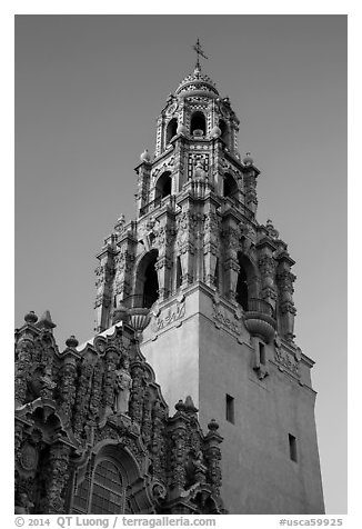 Museum of Man tower at sunset. San Diego, California, USA (black and white)