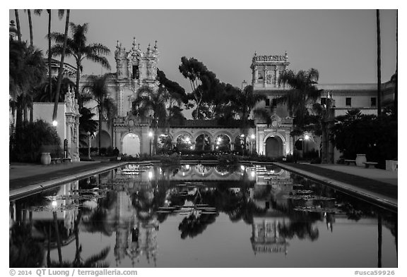Casa de Balboa, Colonade, and House of Hospitality at dusk. San Diego, California, USA (black and white)