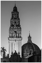 Museum of Man tower and dome at dusk. San Diego, California, USA ( black and white)
