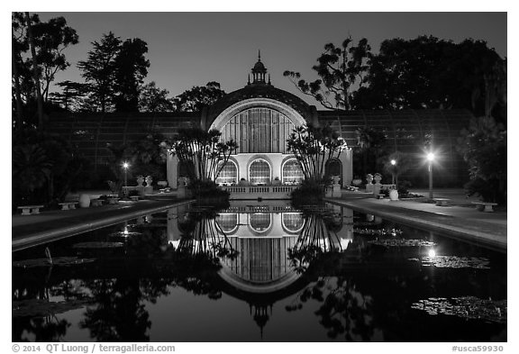 Botanical Building and reflection at night. San Diego, California, USA (black and white)
