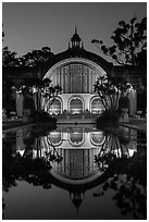 Botanical Building reflected at night. San Diego, California, USA ( black and white)