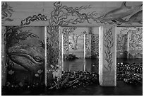 PCH underpass decorated with mural of ocean life, Leo Carrillo State Park. Los Angeles, California, USA ( black and white)
