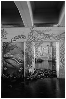 Underpass with mural of marine life, Leo Carrillo State Park. Los Angeles, California, USA ( black and white)