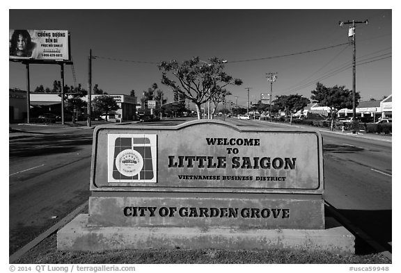 Little Saigon sign. Garden Grove, Orange County, California, USA (black and white)