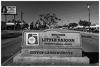 Little Saigon sign. Garden Grove, Orange County, California, USA ( black and white)