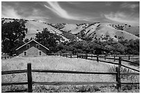 Fences and barracks, Fort Tejon state historic park. California, USA ( black and white)