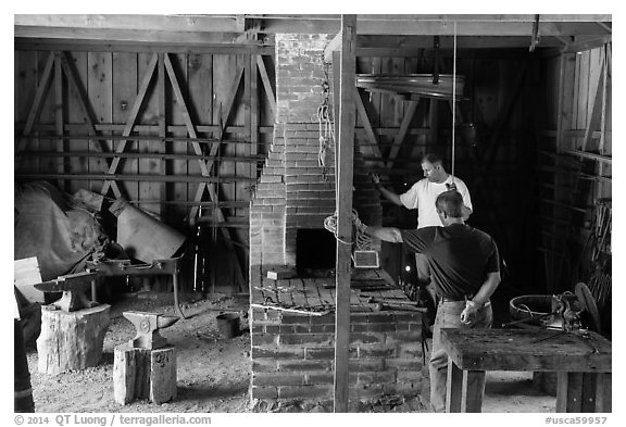 Blacksmith workshop, Fort Tejon. California, USA (black and white)