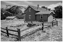 Barracks, Fort Tejon state historic park. California, USA ( black and white)