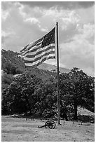 American flag, Fort Tejon. California, USA ( black and white)