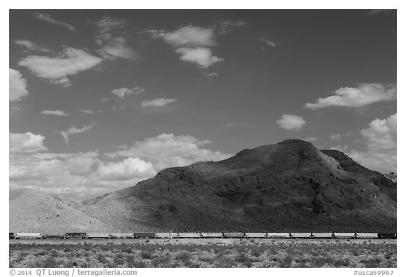Freight train in desert. California, USA (black and white)