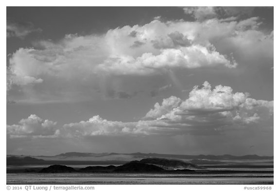Clouds above desert mountains. California, USA (black and white)