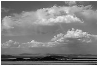 Clouds above desert mountains. California, USA ( black and white)