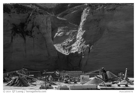 Mineral extraction site. California, USA (black and white)