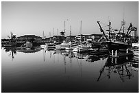 Ventura harbor at dawn. California, USA ( black and white)