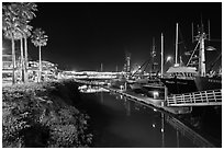 Ventura harbor at night. California, USA ( black and white)