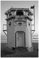 Lifeguard tower. Laguna Beach, Orange County, California, USA ( black and white)