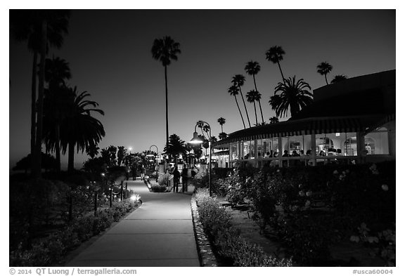 Restaurant near park at night. Laguna Beach, Orange County, California, USA (black and white)