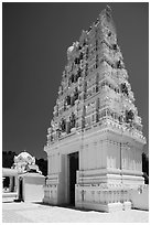 Temple in traditional South Indian style, Calabasas. Los Angeles, California, USA ( black and white)