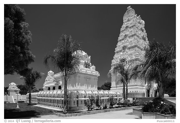 Malibu Hindu Temple, Calabasas. Los Angeles, California, USA (black and white)