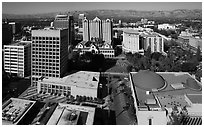 Aerial view of Tech Museum and Plaza de Cesar Chavez. San Jose, California, USA ( black and white)