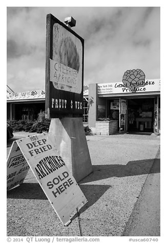 Giant Artichoke Produce store, Castroville. California, USA (black and white)
