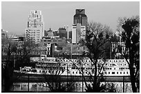 Riverboat and downtown skyline. Sacramento, California, USA ( black and white)