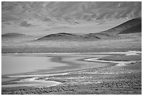 Soda Lake shore and hills from above. Carrizo Plain National Monument, California, USA ( black and white)